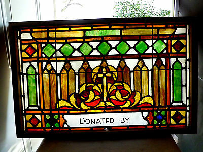 Antique Vtg Church Stained Glass Window Architectural Salvage Gothic Arches AE40
