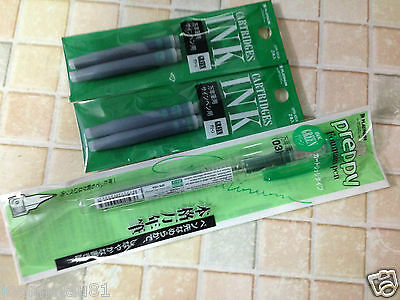 Platinum Preppy Stainless 0.3mm Fountain Pen - GREEN  ink - 1 pen + 4 pcs ink