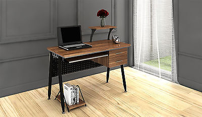 Walnut PC Workstation Computer Desk Table Office Study Furniture 2 Drawers