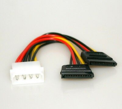 Y-Kabel 4pol Molex / 2x SATA Verteiler PC Strom intern CD DVD Power-Adapter ATX