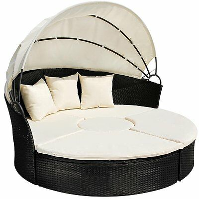 Rattan Day Bed Garden Furniture Outdoor Lounger Patio Sofa Sun Roof +Table BLACK