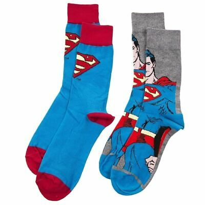 Official DC Comics Superman Assorted Socks - 2 Pairs Retro Gift Pack 7-11