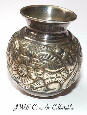 Antique / Vintage Small Silver Floral Decorated Vase