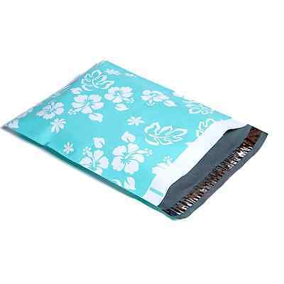 100 12x15.5 Teal Hawaiian Designer Mailers Poly Shipping Envelopes Boutique Bag