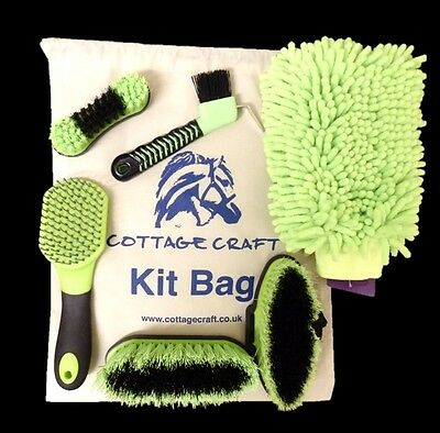 NEW Cottage Craft Complete Junior Horse Pony Grooming Starter Set Bag Green