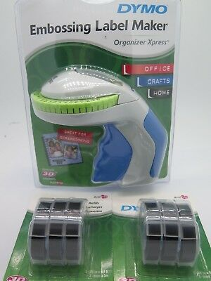 Dymo Xpress Tapewriter Package: Embossing Label Maker + 6 Black Tapes