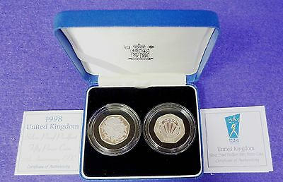 Royal Mint 1998 Silver Proof Piedfort Fifty Pence Coin 25th Anniversary EEC & 50