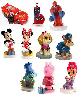 Birthday Cake CANDLES-Peppa Spiderman Cars Trolls Paw Patrol Mouse Shimmer Poppy