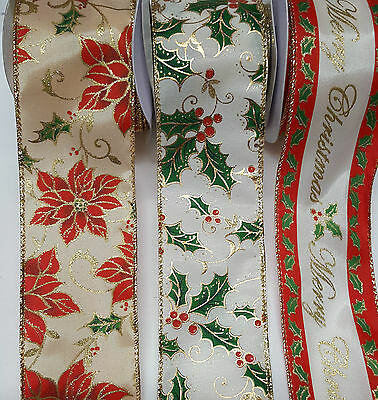 Christmas Ribbon Wired Width 60mm Festive Holly, Poinsettia Merry Christmas