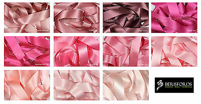Satin Ribbon Double Sided Berisfords Pink Shades Choice Widths 3501