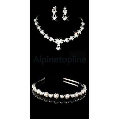 New Bridal Flower Girl Crystal Pearl Crown Headband Tiara+Necklace Earring Set