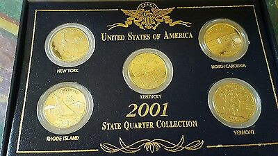 uncirculated  2001 Gold Edition State Quarter Collection. US  in Box