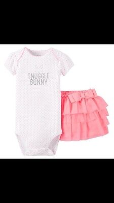 NWT Carter's Just one you snuggle bunny tutu skirt & bodysuit outfit 6 Month