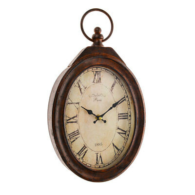 Rustic Shabby Vintage Oval Pocket Watch French Paris Style Metal Wall Clock