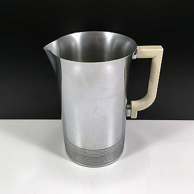 Vintage Chrome Art Deco Pitcher with Ivory Handle & Ribbed Base by Chase