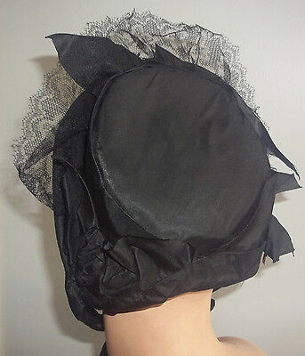 Antique Victorian Black Satin Mourning Bonnet Hat Lace Trim Ties and Silk Shawl
