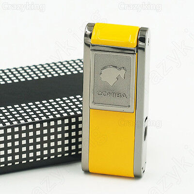 COHIBA Yellow Metal 2 TORCH JET FLAME CIGAR CIGARETTE LIGHTER With Lateral PUNCH