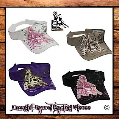 Cowgirl Couture 'barrel Racer' Visor Cap ~ Distressed Embroidered Design