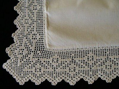 GORGEOUS Antique Edwardian Pillowcase Sham Hand Crochet Lace Edges PRISTINE