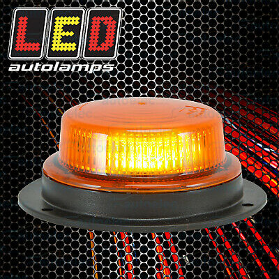 Led Rotating Pattern Beacon Amber 12V Volt Warning Light Low Profile Lrb130