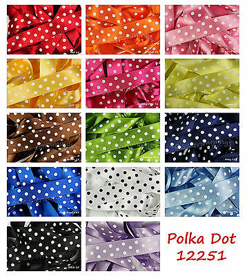 Polka Dot Classic Satin Ribbon by Berisfords 15mm & 25mm 15 Colours & 5 Lengths
