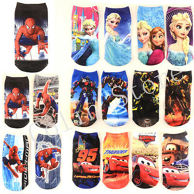 Lots Cute Minion Cars Spiderman Toddler Kids Boys Girls Warm Ankle Short Socks