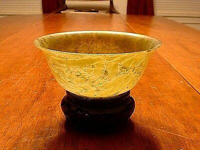 Antique Chinese Translucent Spinach Jade Bowl On Stand As Found