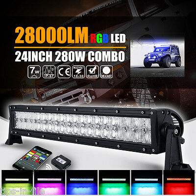 5D+ CREE 22INCH 280W RGB LED Light Bar Offroad Bluetooth Flashing 24inch Combo