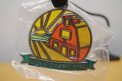 JOHN DEERE 1997 Stained Glass Christmas Ornament Window Hanging Collectible