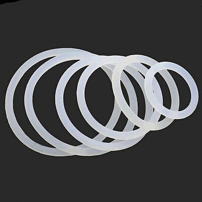 OD 3mm-60mm White Silicone O-Ring Gaskets Seals Rubber Gasket Clamp Free