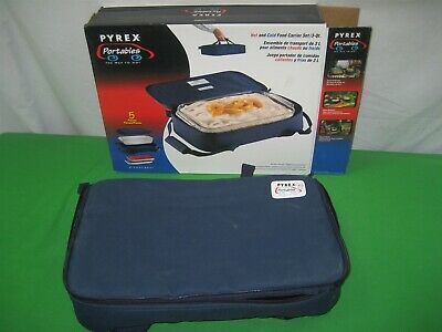 Microcore Portables The Way To Go Blue Carrier with 3 Qt Pyrex Glass Dish 233-S