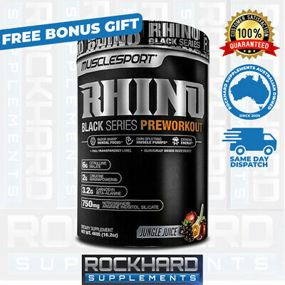 Rhino Black Pre-Workout Musclesport 40 Serves Muscle Sport Pre Energy Focus