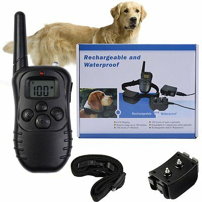 LCD Rechargeable Shock Electric E-Collar Remote Control Dog Training Anti-Bark