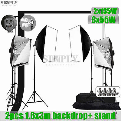 Photo Studio Video Continuous Softbox Lighting Soft box Light Stand Backdrop Kit
