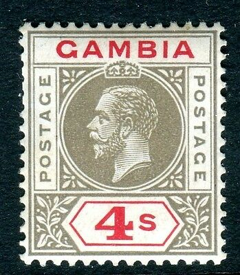 GAMBIA-1921-22 4/- Black & Red INVERTED WATERMARK superb LMM Sg 117w