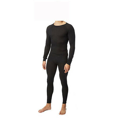 Mens Black Thermal Pants Tops Skiwear Rugby Skins Performance Internally Brushed