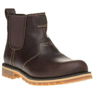New Mens Timberland Brown Grantly Chelsea Leather Boots Elasticated Pull On