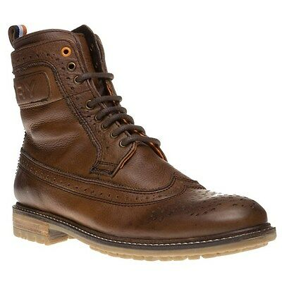 New Mens Superdry Brown Brad Brogue Leather Boots Lace Up