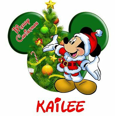 Disney Mickey Minnie Mouse Christmas Personalized   T-Shirt Iron On Transfer