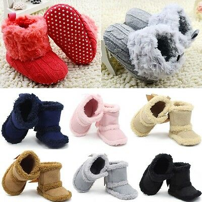 BOYS Girls Newborn Winter Warm Boots Toddler Infant Crib Soft Bottom Ankle Shoes