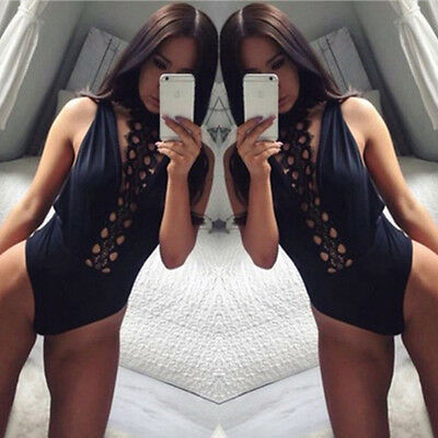 New Sexy Women's Ladies Sleeveless Lace Stretch Bodysuit Blouse Body Top T-shirt