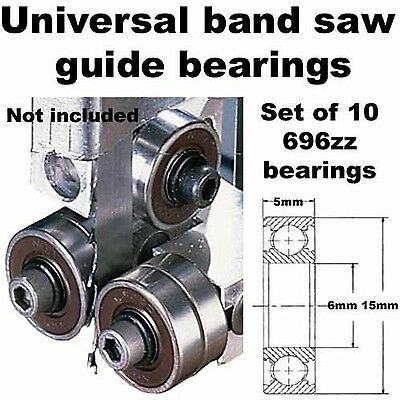 Universal Band Saw Guide Bearings (Set of 10 Bearings Only) {696zz} SB0