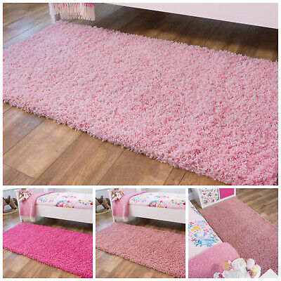 NEW Pink Girls Kids Shaggy Rug for Living Room Bedroom House Floor Large & Small