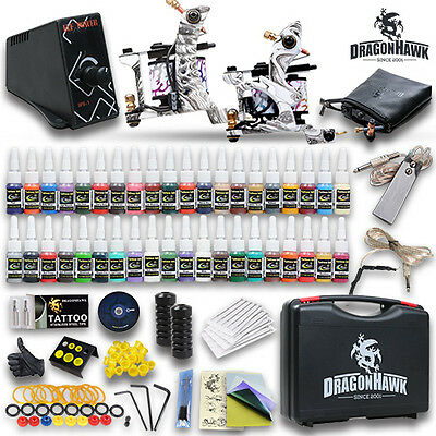 Professional Complete Tattoo Kit 2 Top Machine Gun 40 Color Inks 20 Needles