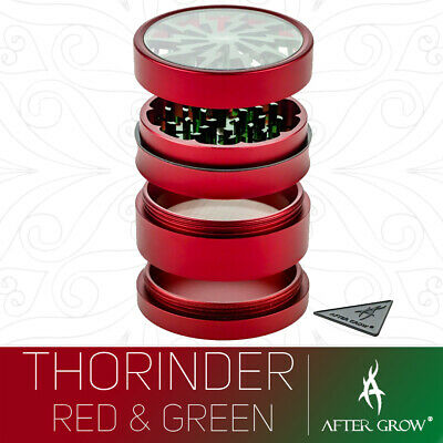 Thorinder Herb Grinder - Aluminium 62mm 4 Part - Limited Edition Red + Green