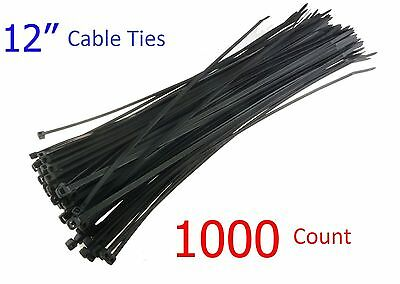 "1000 Pack 12"" inch Black Network Cable Cord Wire Tie Strap Zip Nylon"