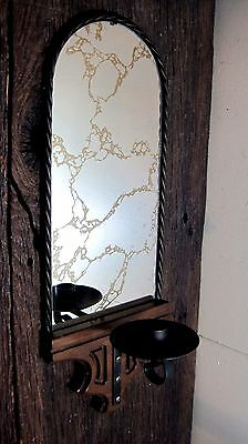 Vintage Wood & Metal Mirrored Wall Sconce Home & Garden Taper Candle Holder