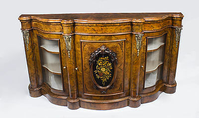 Antique Victorian Burr Walnut Serpentine Credenza c.1860