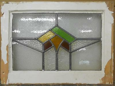 "OLD ENGLISH LEADED STAINED GLASS WINDOW Abstract Geometric 20.75"" x 15.25"""