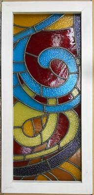 """LARGE OLD ENGLISH LEADED STAINED GLASS WINDOW Stunning Colorful 15.75"""" x 33.5"""""""